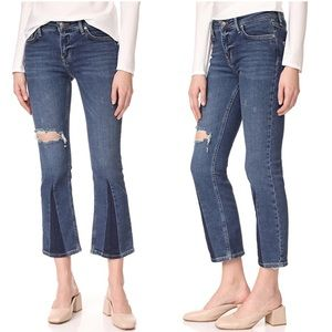 Free People Colorblock Crop Flare Jeans